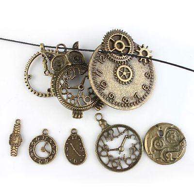 8pcs Wholesale Lots 8 Kinds Clock Vintage Style Bronze Alloy Pendants Findings D