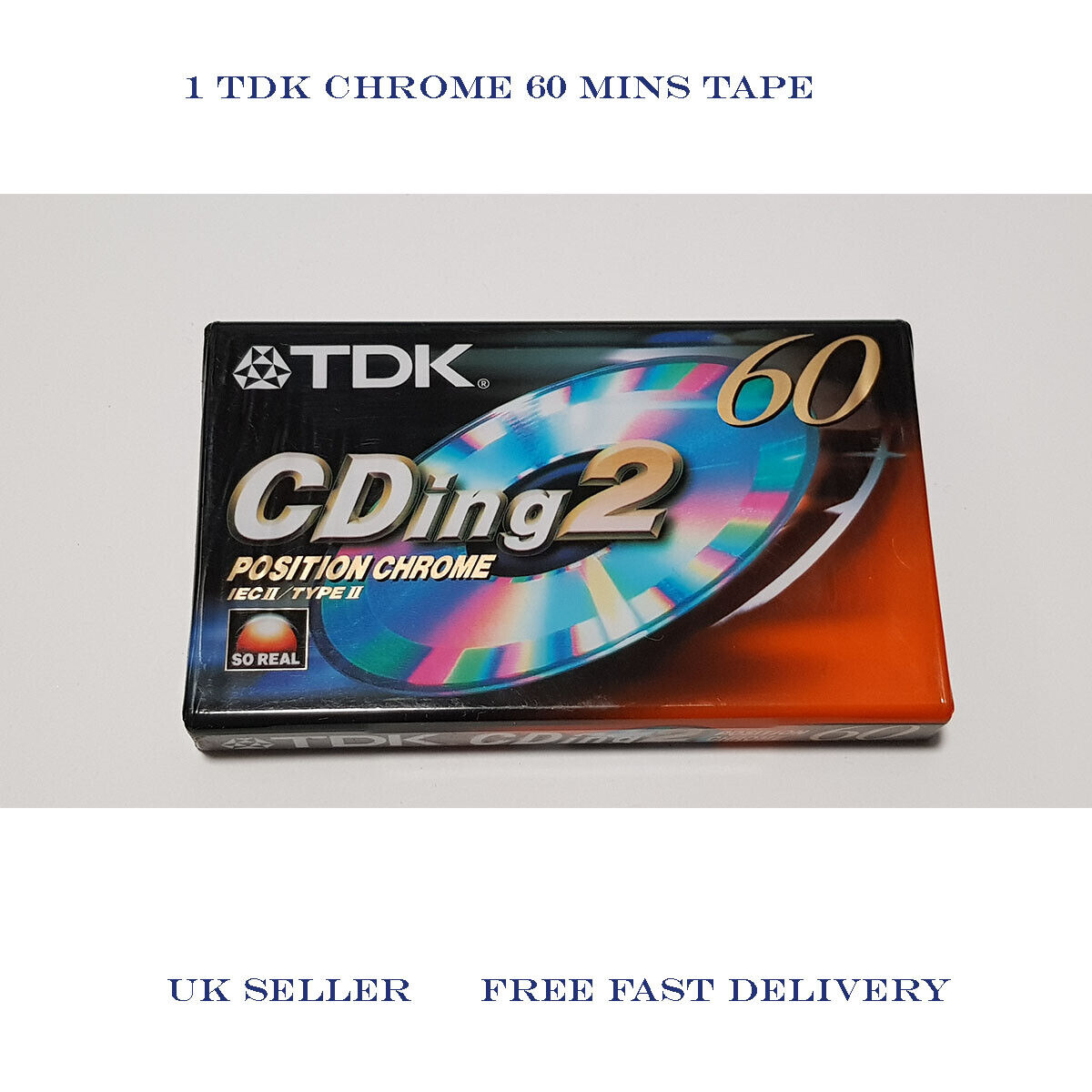 TDK CDing2 60 Type II Chrome Audio Cassette (60 minute tape) Sealed