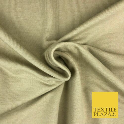 "Premium BEIGE Plain French 100/% Cotton Terry Jersey 70/"" Dress Fabric 1338"