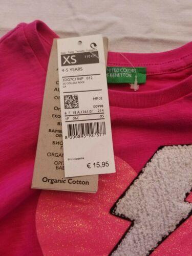 NEUF Benetton T-shirt à manches longues rose pour filles