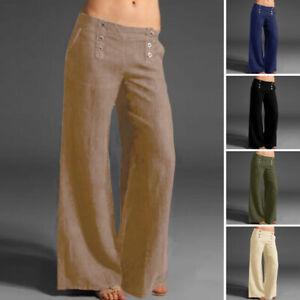 Mode-Femme-Pantalons-Taille-elastique-Casual-en-vrac-Loisir-Jambes-larges-Plus
