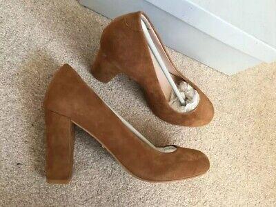 block heel Tan suede court shoes 36 UK