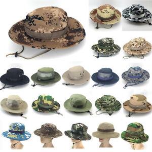 Boonie Bucket Hat Outdoor Fishing Hunting Wide Brim Mesh Camo Safari Sun Cap