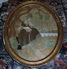 19th century (early) Regency Silk Embriodery in Original Gilt Frame