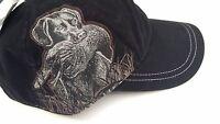 Dri Duck Wildlife Series Brush Twill Hat Black With Hunting Lab Design-adustable