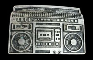 Boom-Box-Radio-Belt-Buckle-Pewter-Tone-Huge-Stereo-Music
