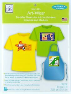 June Tailor Iron-On Art-Wear Transfer Sheets Ink Jet Printers Crayons & Markers