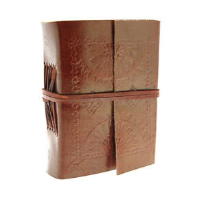 commerce-equitable-fait-a-la-main-Mini-Eco-Journal-cuir-en-relief-carnet