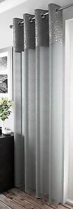 CRUSHED-SILK-SILVER-GREY-BORDER-CHROME-EYELET-GREY-VOILE-NET-CURTAIN-PANEL