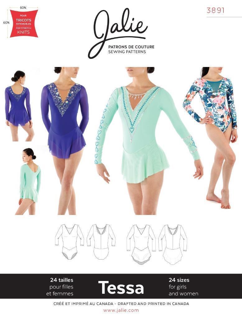 Jalie Tessa 3891 Ice Figure Skating Long Sleeve Dress Leotard Sewing ...