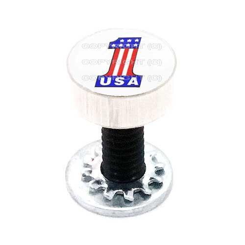 USA FLAG #1 WT Aluminum Fender Seat Bolt 1//4-20 For Harley Sm Silver Billet