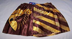 Hawthorn-Hawks-AFL-Mens-Brown-Stripe-Printed-Satin-Boxer-Shorts-Size-S-New