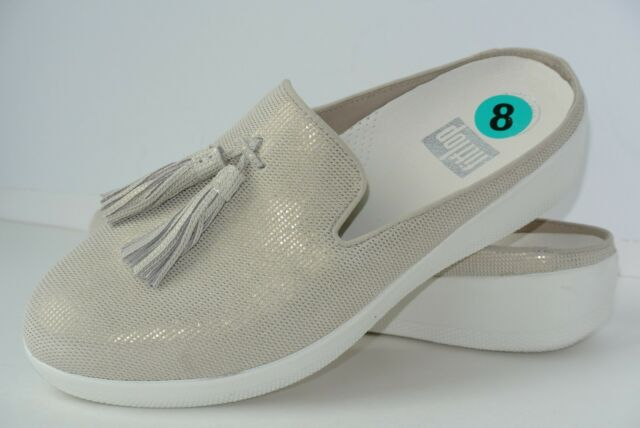 9096b7f3fcd NEW FitFlop Houndstooth Print Superskate Womens Sz 8 Cream Leather Slip On  Mules