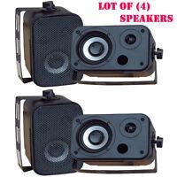 Lot Of (4) Pylehome Pdwr30b 3.5'' Indoor/outdoor Waterproof Speakers (black)