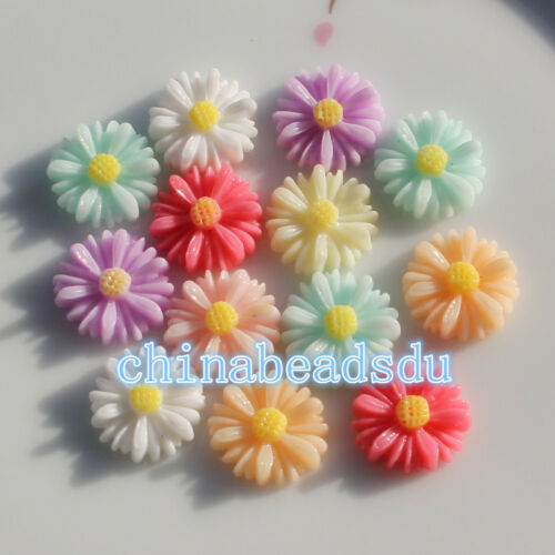 50Pcs 13MM Mixed Color chrysanthemum Flower Flatback Resin Cabochons  DIY Craft