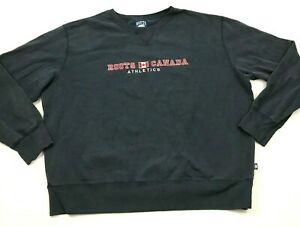 VINTAGE-Roots-Canada-Sweater-Mens-Size-2XL-XXL-Navy-Blue-Long-Sleeve-Crew-Neck