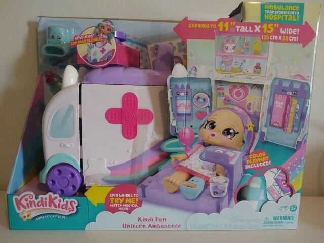 Kindi Kids Hospital Corner Unicorn Ambulance Hospital Playset with Playmat