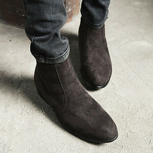 Men-039-s-Pointed-Toe-Suede-Ankle-Boots-Cuban-Heel-Zip-British-Boots-High-Top-Shoes