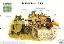 Camion Truck VLTT Laffly S 15 Section antichar France WWII FICHE CHAR TANK