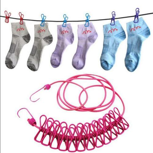 Portable Travel Camping Clothesline Washing Clothes Line Rope with 12 Peg Clips