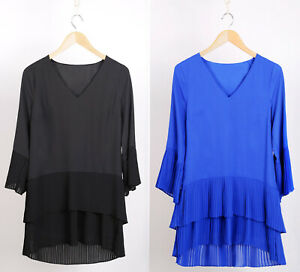 Ex-WALLIS-New-Black-amp-Blue-Pleated-Longline-Tunic-Top-Blouse-in-Sizes-8-to-20