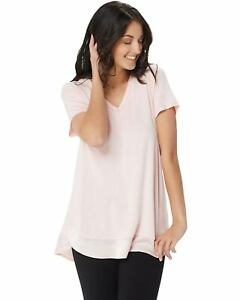 H-by-Halston-Womens-Double-Layer-V-Neck-Short-Sleeve-Knit-Top-M-Pink-A353398