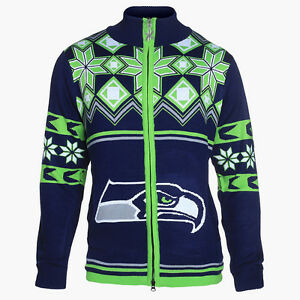 image is loading seattle seahawks split logo ugly christmas sweater jacket - Seahawks Christmas Sweater