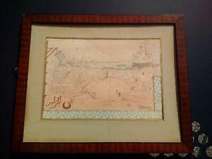 Rare tableau orientaliste Adolphe CHUDANT baie d'Alger et mosquée Algérie signé
