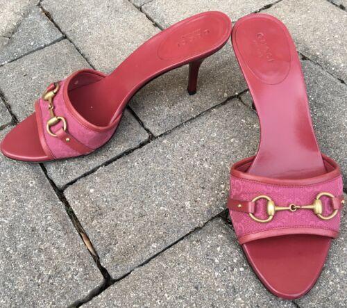 Vintage Tom Ford Era Gucci Magenta Horsebit Mules