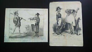 Rare caricatures deux gravures Honoré Daumier Lisbonne 1833 & 1859 éd originale