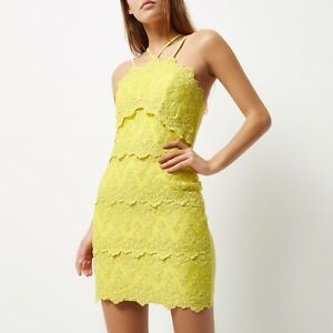 Details About River Island Lime Chartreuse Yellow Cornelli Lace Strappy Party Mini Dress 14 B3