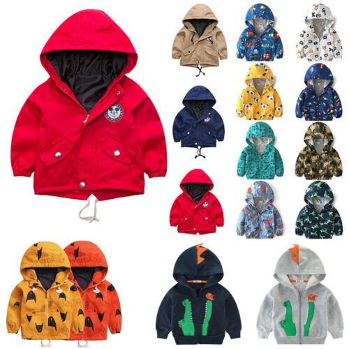 Kids Boys Girls Hooded Coat Jacket Printed Zipper Hoodies Winter Warmer Outwear