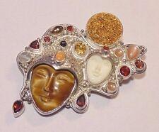 Sajen 925 Sterling Multi Stone Carved Double Goddess Face Pin Pendant Brooch