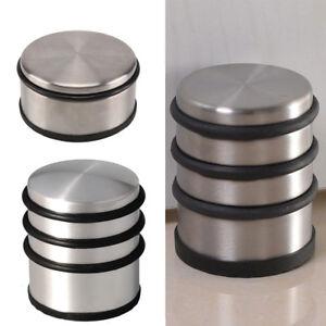 Round-Chrome-Metal-Door-Stopper-Stop-Rubber-Floor-Protector-Heavy-Weight-Duty-UK