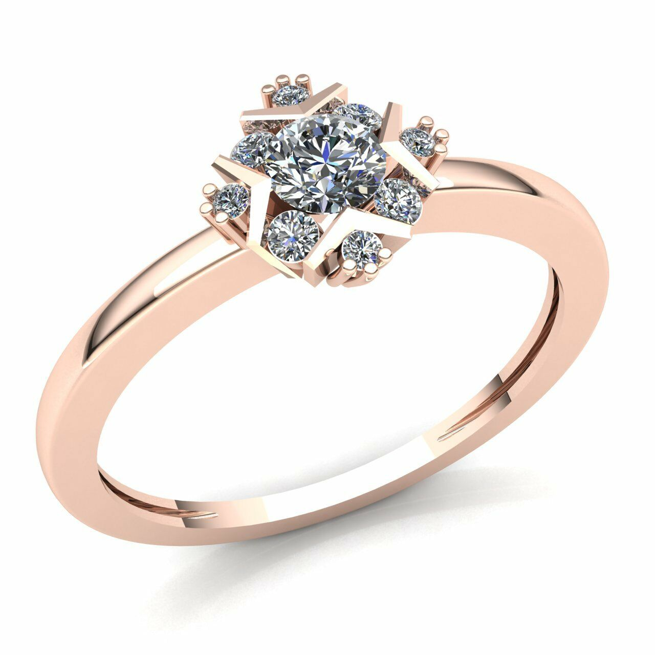 Genuine 0.3ctw Round Cut Diamond Ladies Cluster Fancy Engagement Ring 14K gold