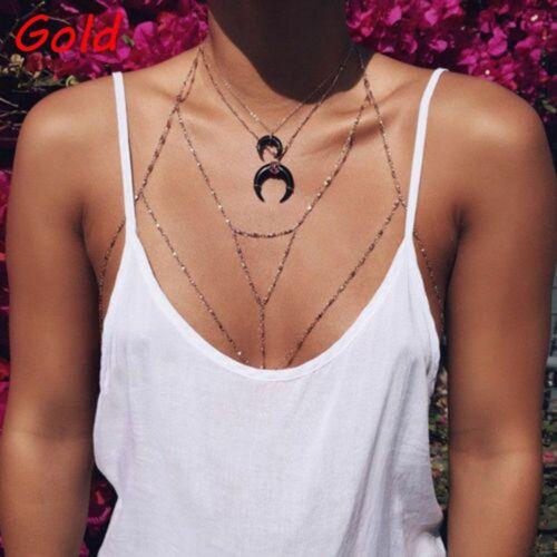 Fashion Beach Bra Women Body Chain Belly Waist Necklace Harness Jewelry