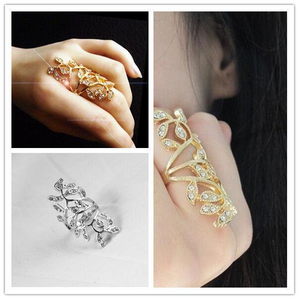 Luxury Plated Crystal Long Branch Leaf Knuckle Wrap Finger Alternative Color