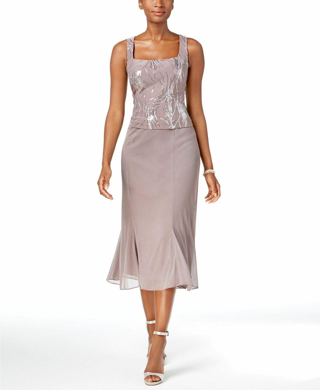 ALEX EVENINGS damen lila SEQUINED SLEEVELESS MIDI A-LINE DRESS Größe 18
