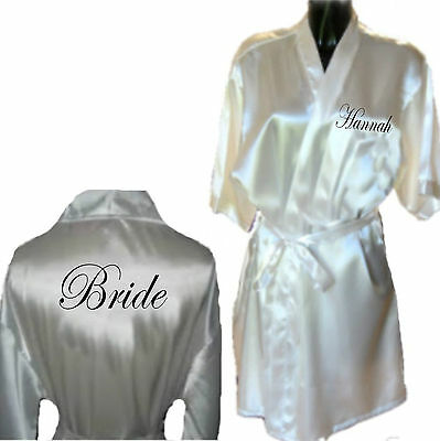 Personalised SILKY Wedding Robe / Dressing Gown - 3 Lengths Long Sexy Knee Bride