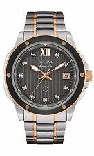 Bulova Men's 98D127 Marine Star Diamond Markers Two Tone Black Dial 47mm Watch