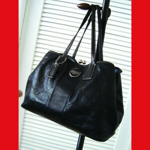 Coach-Signature-Stitch-Patent-Leather-Frame-Carryall-Bag-15658-Black