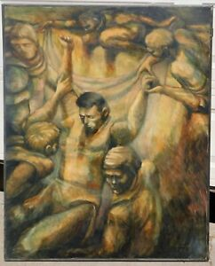 Signed-1966-modernist-oil-canvas-40-x-50-mystery-artist