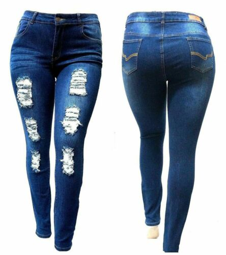 WOMENS PLUS SIZE Stretch Distressed Ripped BLUE//BLACK SKINNY DENIM JEANS PANTS