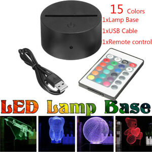 Details about ABS Acrylic Black 3D LED Lamp Night Light Base + USB Cable +  Remote Control