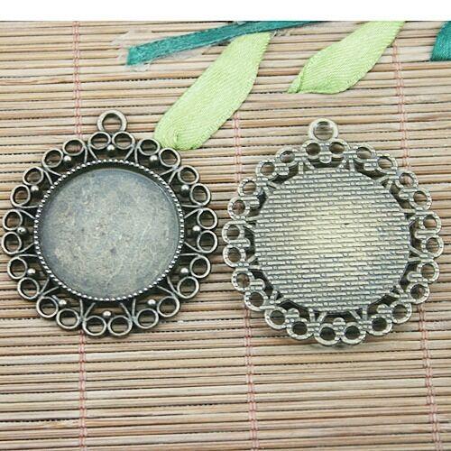 3pc antiqued bronze round shaped cabochon settings DIY pendant  EF1246