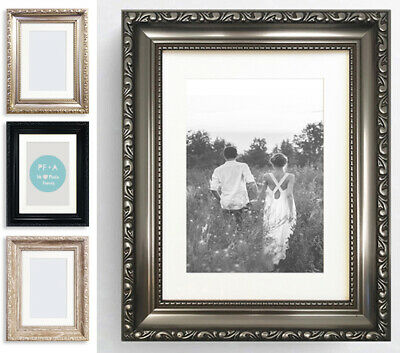 """Antique Champagne Silver Picture Frame with mount for 14x11/"""" Print  Wall Hanging"""
