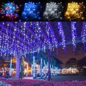 40 LEDs Lichterkette Eiszapfen Eisregen Weihnachtsleuchte Außenlichterkette 10M