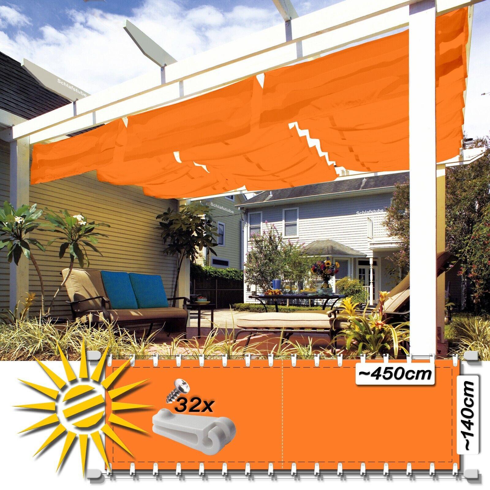 Seilspannmarkise Orange ca 450x140 cm Pergola Komplett Set + 32 Laufhaken 8 Ösen