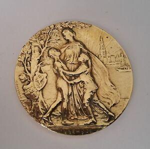 Bronze Plakette Medaille Bronze Belgien Godefroid Devresse 1908 Unterschriften Ausgezeichnet Im Kisseneffekt