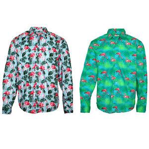 Adult-Men-039-s-Cotton-Long-Sleeve-Hawaiian-Beach-Shirt-Tropical-Casual-Tops-Jumper